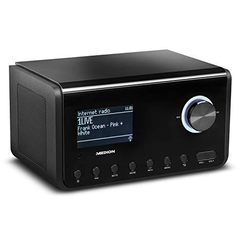 MEDION P85105 Internetradio mit DAB+ (WLAN, UKW FM, DLNA, USB, LAN, Kopfhöreranschluss, Line in/Out, Weckfunktion Snooze Sleep) schwarz