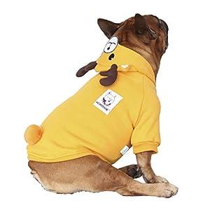iChoue Reindeer Antlers Dog Costumes Hoodie Warm Coat Winter Clothes for French Bulldog Pug Boston Terrier-Brown Reindeer/L Plus