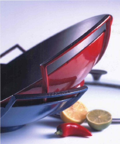 Le Creuset Wok de hierro fundido con tapa de cristal, diámetro 36 cm, 4.5 L, Rojo Cereza
