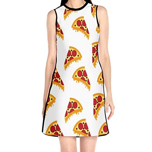 WAYMAY Pizza Pattern Dress Sleeveless A-Line Dress Tank Dresses Elegant Dress White