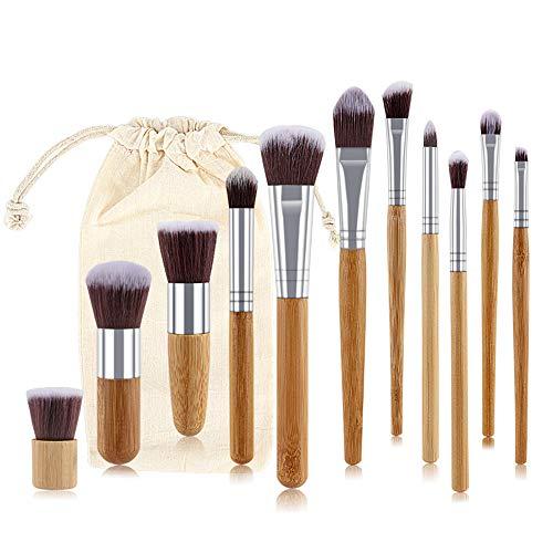 Lot de 11 pinceaux de maquillage avec manche en bambou
