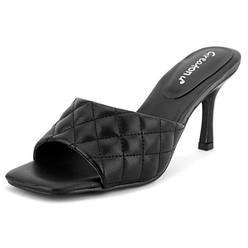 Greatonu Womens Black Quilted Low Heel Mule Slippers Slip On Dress Pumps Open Toe Heels Sandals Size 11