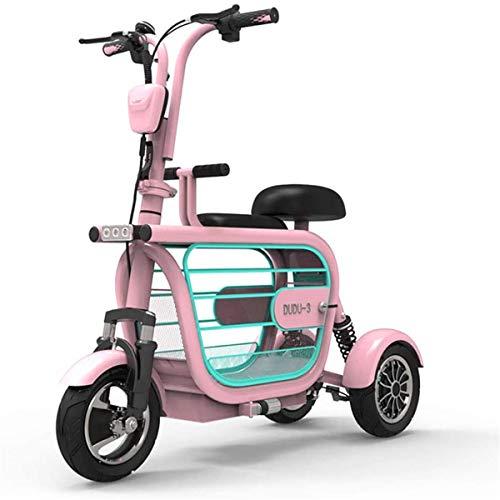 Elektrorollstuhl Elektro 3-Rad-Mobilitäts-Roller, leicht zusammenklappbare und kompakt for for Erwachsene mit Haustieren tragbaren elektrischen Dreirädern mit Kindersitz Reisen, Rosa, 48V15AH / 65km B
