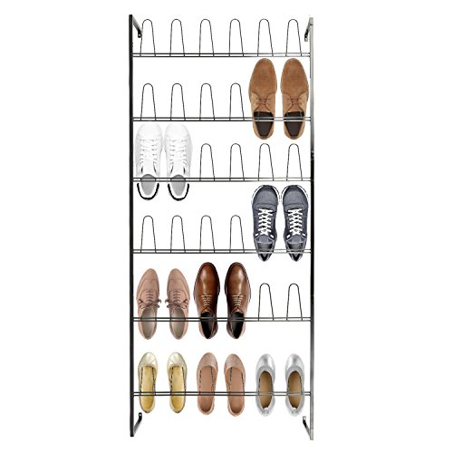 Wall Mounted Black Metal 36 Hook Shoe Rack / 18 Pair...