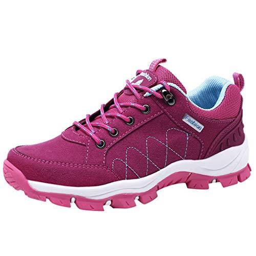 HDUFGJ Damen Trekking-& Wanderschuhe Atmungsaktiv rutschfeste Outdoor-Schuhe Sneaker Leichtgewicht Laufschuhe Bequem Mode Freizeitschuhe Faule Schuhe Turnschuhe Fitnessschuhe Flache Schuhe40 EU(Pink)