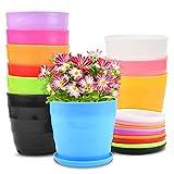 EKKONG 10 Piezas Macetas Plastico,con Diseño en Espiral Tiestos para Plantas,Maceta Bonsai ,Decorativa para Plantas de Plantas de Interior y Oficina Macetas (Colores Mezclados)