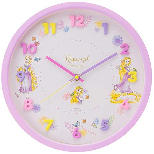 ディズニー 掛け時計 パープル ラプンツェル 連続秒針