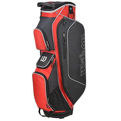 Wilson Staff Herren Cartbag, Golftasche mit 14 Fächern, Zur Verwendung mit Cart oder Trolley, Prostaff HDX, rot/schwarz, WGB5306RD
