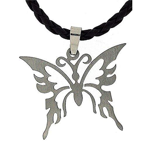 La Olivia Collection Pendentif Unisexe en Forme de Papillon en Métal sur Corde Tressée de 45cm
