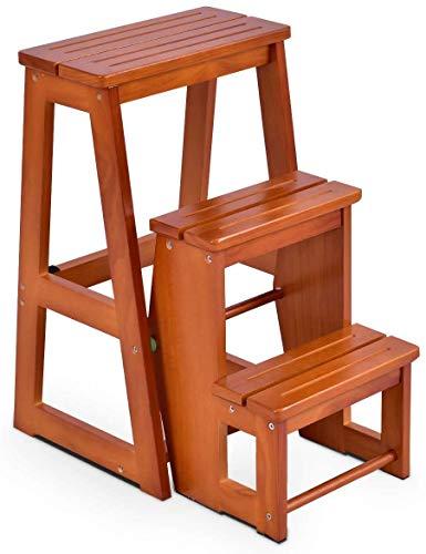 BAQQ Pallledare från furuledarstol 3 steg, hopfällbar stegpall, stegpall brun, trappstege hushållsstege trätrappor, färgval (natur)