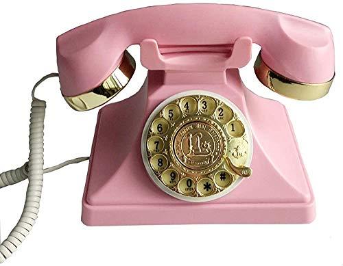 Teléfono casa sala de estar retro asiento fijo rotación telefono vintage,Pink