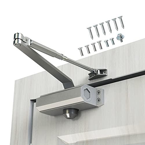 GEKRONE Door Closer Size 3 Suitable for Door Weight 45~65kg HD-165 Speed Adjustable Automatic Door Closer Aluminum Alloy Mute Long Duration Easy Installation (HD-165)