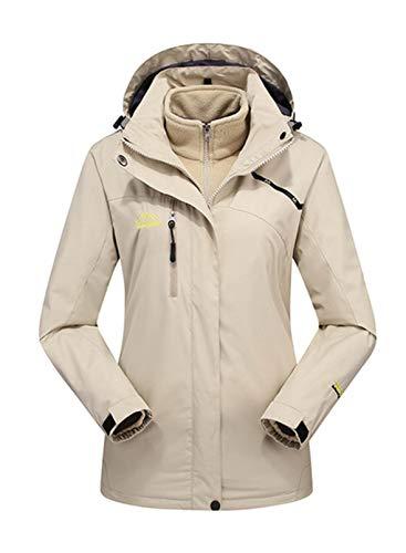 CORAFRITZ Damen Outdoor Jacke Winter Skijacke Windbreaker 3 in 1 Kapuze Regenmantel für Reisen Klettern Wandern Gr. Large, beige