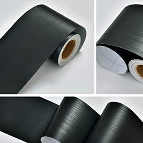 5 m / 10 m pvc impermeabile linea di cintura in legno marmo autoadesivo linea battiscopa carta da parati soggiorno arredamento adesivi murali bordo in vinile, legno nero, 5 m x 10 cm
