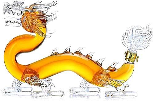 GJNVBDZSF Jarra de Whisky con Forma de dragón, Jarra de Whisky de Licor y Vino, Botella Dragon Zodiac de 1000 ml, Botella de Vidrio de borosilicato 100% sin Plomo