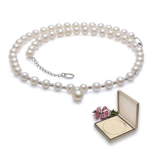 KNWSHT Collar de perlas para mujer, collar redondo de perlas cultivadas de agua dulce de 7 a 8 mm con colgante de perlas de 10 mm en forma de gota para mujer de boda