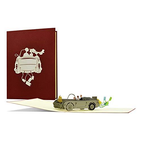 Carte de mariage voiture I noble et élégante | Carte de félicitations de mariage pour les mariés | Idée cadeau de mariage | Cadeau et carte de mariage | L19