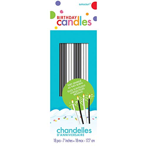 amscan Sparkling Candle Black and White 18ct [Contains 12 Manufacturer Retail Unit(s) Per SKU# 170001.99