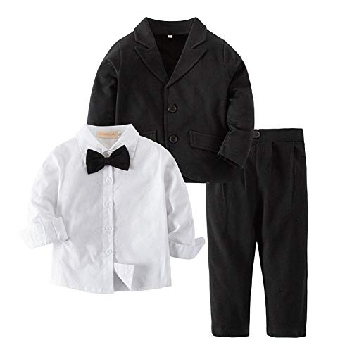 Little Boys Gentleman Formal Suit Set with Vest, Pant, Shirt and Bow Tie, Baby Toddler Long Sleeve Wear 3 Pcs Outfit, Green,12-18 Months Baby =Tag 80