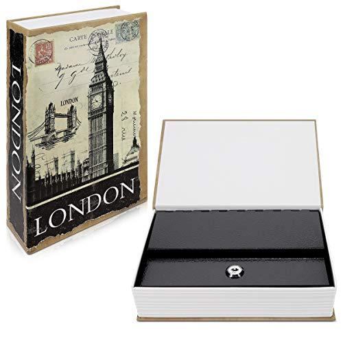 Navaris Caja fuerte con forma de libro - Caja de caudales escondida para guardar dinero joyas relojes - Con diseño de Londres y 2 llaves - M
