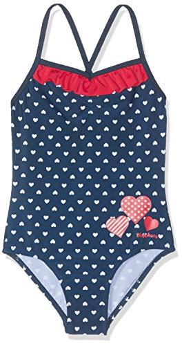Playshoes Baby-Mädchen UV-Schutz Herzchen Badeanzug, Blau (Marine 11), (Herstellergröße 122/128)
