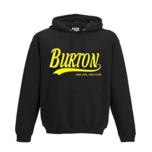 Burton Albion Football Gift - Hoodie Brewers one Life one Club top Jumper Sweatshirt FC Present FH54 (Adult Large, Jet Black)