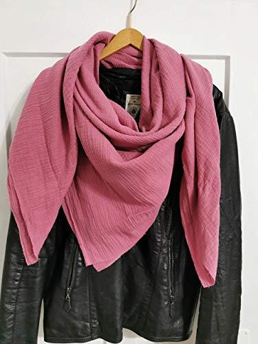 XXL Halstuch, Quadratisches Tuch aus Musselin für Damen und Herren 18 verschiedene Farben 100% Baumwolle