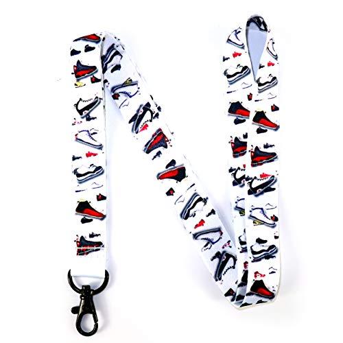 RockNerdy - Jordan Shoemoji Lanyard Keychain w/Clasp - Sports ID Lanyard for Keys Badges Name Tag Whistle - Street Fashion ID Holder Keychain for Sneakerhead Athlete Boys Kids Coach Men (1 Lanyard)