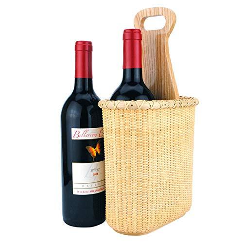 Rotan Winkelmandje, Handgeweven, Stijlvol en Elegant Wijnrek/Rode Wijnbekerhouder/Houten Kast