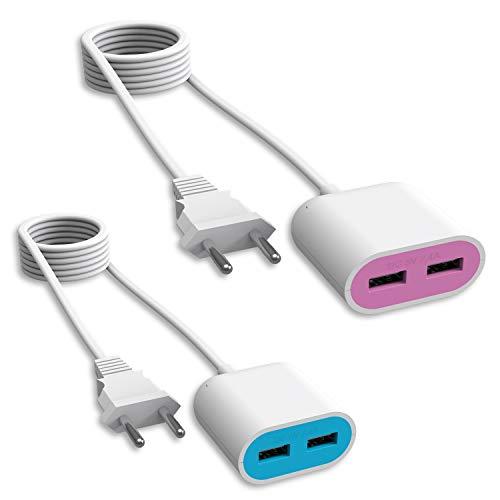 UCOMEN Steckdose mit USB 2 Ports, 2.4A USB mit Verlängerungskabel 1.5m, Blau und Rosa - 2er Pack
