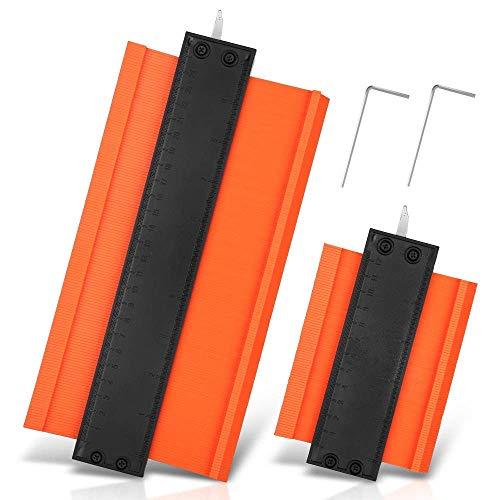型取りゲージ 金属ロック式 コンターゲージ 高精度 緩み調整可能 曲線定規 DIY用測定工具 輪郭コピー 不規則な測定器 ABS目盛付き