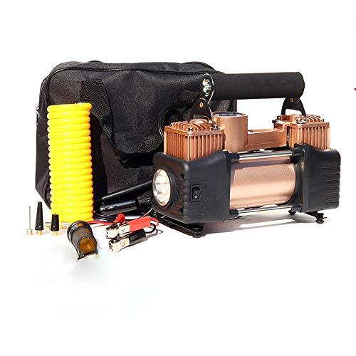 LJXLXY Bomba de neumáticos12vCompresor Mini Eléctrico Bomba de Aire Compresor de Aire Portátil150PSI con luz LED de Emergencia para Bicicleta, Motocicleta, Neumáticos, Bola y Otros Inflables(Dorado)
