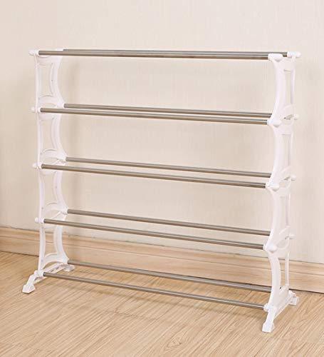 XWZH Zapatero a prueba de polvo, 5 niveles, acero inoxidable, blanco, estante organizador de zapatos, 72 x 25 x 66 cm