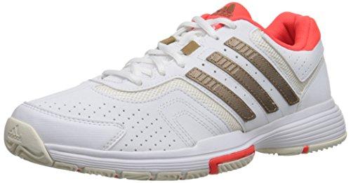 adidas Performance Women's Barricade Court W Tennis Shoe, White/Copper/Solar Red, 11.5 M US