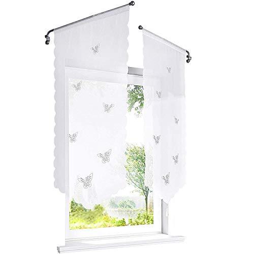ESLIR Scheibengardine mit Schmetterling Laserschneiden Bistrogardine Küche Rollos Voile Transparent Panneaux Weiß HxB 120x60cm 1 Stück