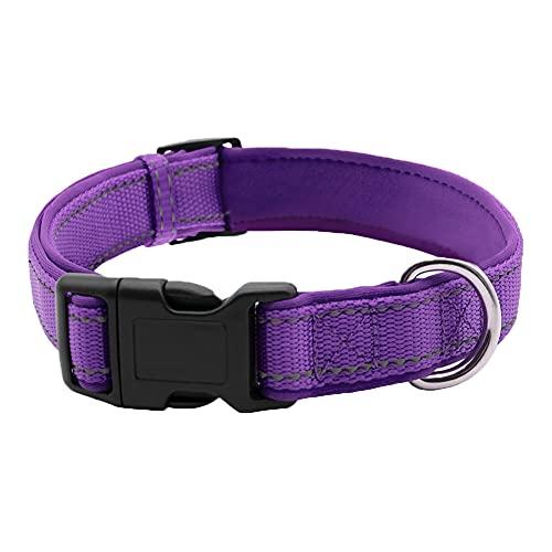 CHMEYUN Collar para Perros - para Cachorros Pequeños, Medianos - Fuerte E Impermeable - Trenza Textil, Costura Reforzada, Hebilla Doble -Púrpura