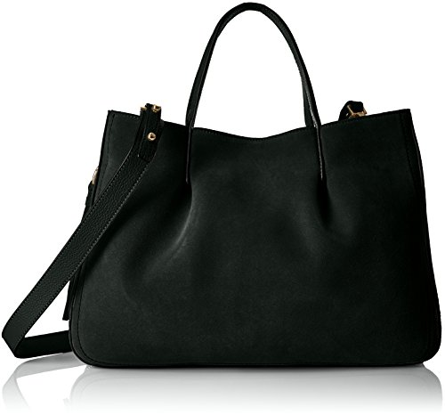 MILLY Astor Suede Pinched Tote, black