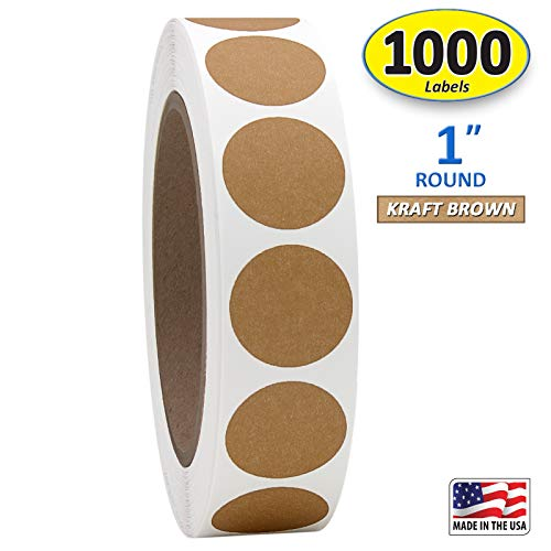 1' Kraft Brown Round Color Coding Circle Dot Labels on a Roll, 1000 Stickers, 1 inch Diameter.