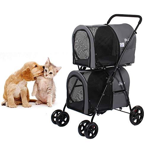 Dawoo Doppelter Kinderwagen für kleine, mittlere Hunde und Katzen, Abnehmbarer 4-Rad-Kinderwagen Doppel-Kinderwagen mit 2 tragbaren Reiseträgern/Einhand-Klapp- / Aufhängungssystem. (Grau)