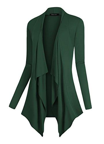 Urban CoCo Women's Drape Front Open Cardigan Long Sleeve Irregular Hem (2XL, Dark Green)