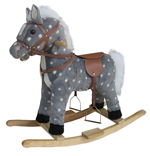 NEW Plush Rocking Horse - Grey / White Deluxe with Mane Saddle Bridle Stirrups Wooden Rockers 12m+ - Includes Sound Effects