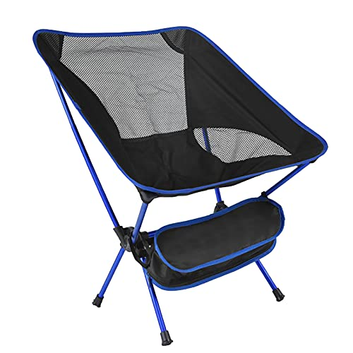 Silla de camping portátil, silla plegable al aire libre, compacta, ultraligera, plegable, para exteriores, viajes, senderismo, campamento, pesca, picnic, regalo (azul)