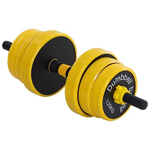 homcom Bilanciere e Manubrio 20 kg, Componibile e 2 in 1, per Allenamento Casa/Palestra, in Polvere di Ferro e PP Giallo