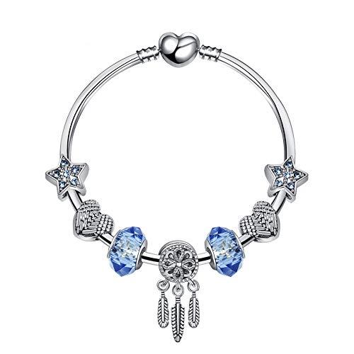 pulsera de Cuentas Azul atrapasueños Cristal colgantes cristales beads mujer regalo de Cumpleaños, navidad, SAN valentín Boda. 19cm