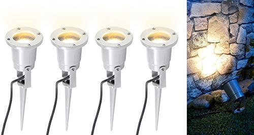 Preisvergleich Produktbild Luminea Erdspieß-Strahler: 4er-Set Indoor-Pflanzenstrahler,  einflammig,  GU10,  grau,  1, 5 m Kabel X (LED Erdspießstrahler)