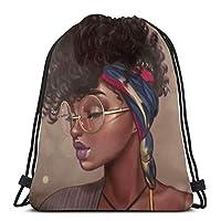 アフロアフリカンレディース巾着バックパックスポーツジムサックパックトラベルバッグキッズメンズレディース