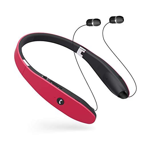 Bluetooth Headphones, Wireless Bluetooth Headphones, Sweatproof Neckband Wireless Headset V4.1 Call Vibrate 18hrs TalkingTime with Retractable Earphone Compatible for iPhoneX, Samsung Galaxy - Red