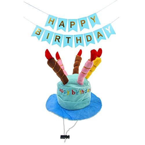 JZK Kuchen Kerze geformt Blau Samt Geburtstag Hut Mütze Spielzeug und Blau Happy Birthday Banner für Jungen Hunde Katzen, Haustier Hund Katze Geburtstag Party Dekoration Zubehör