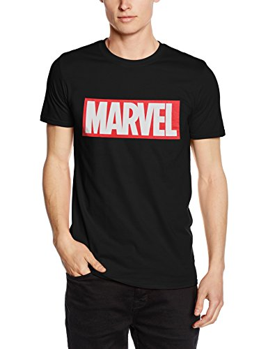 Marvel Comics-Core Logo-Mens, T-Shirt Homme, Noir,...