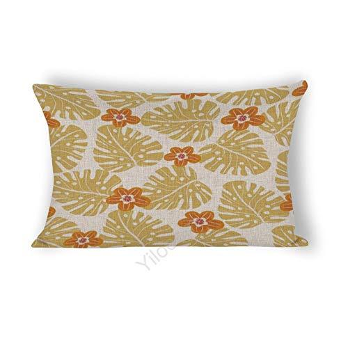 Funda de cojín rectangular de 30,5 x 50,8 cm, para cama, sofá, coche, decoración del hogar, hojas tropicales abstractas y flores